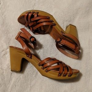 AEO Cognac Leather Wooden Block Heels